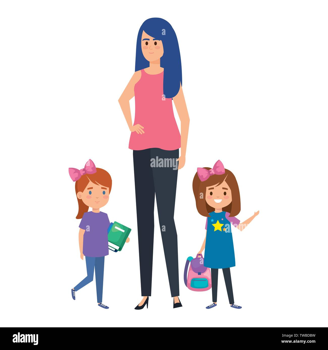 happy student girls with female teacher - Stock Image