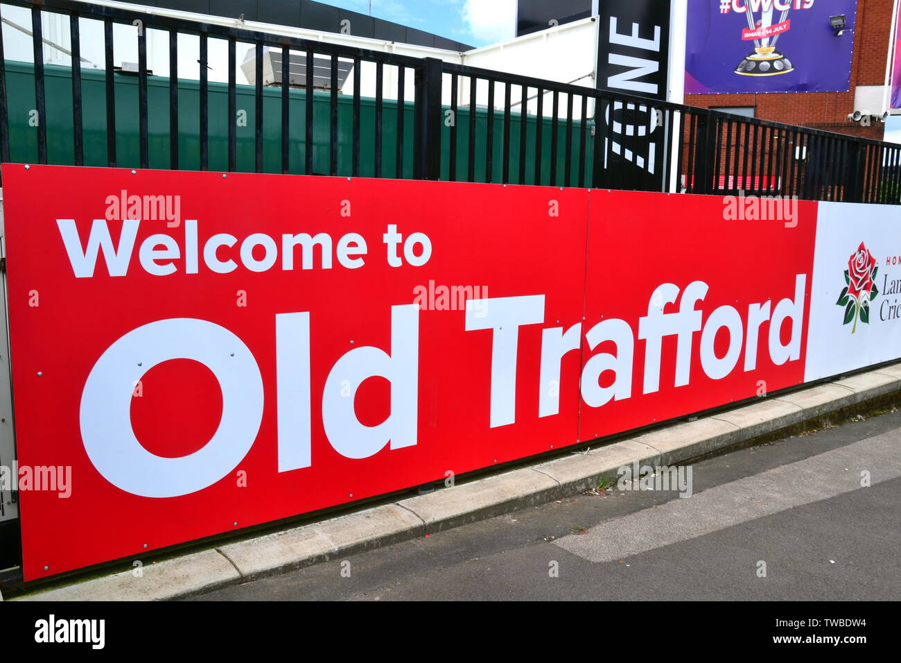 Welcome sign at Lancashire Cricket Club, Old Trafford, Manchester. The 2019  International Cricket Council (ICC) Cricket World Cup is being hosted by England and Wales from May 30th to July 14th, 2019. Six matches are being held at Old Trafford, Manchester, more than at any other venue. - Stock Image