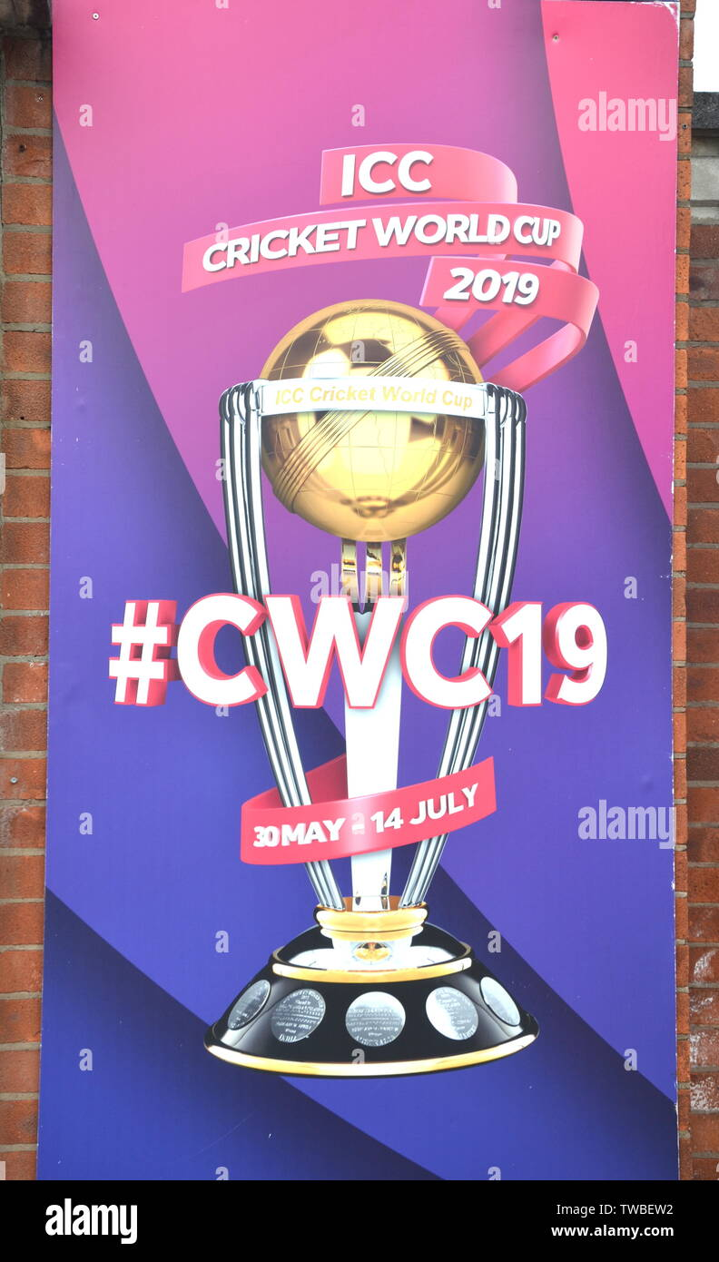Signage for the ICC Cricket World Cup 2019 at Lancashire Cricket Club, Old Trafford, Manchester. The 2019  International Cricket Council (ICC) Cricket World Cup is being hosted by England and Wales from May 30th to July 14th, 2019. Six matches are being held at Old Trafford, Manchester, more than at any other venue. - Stock Image
