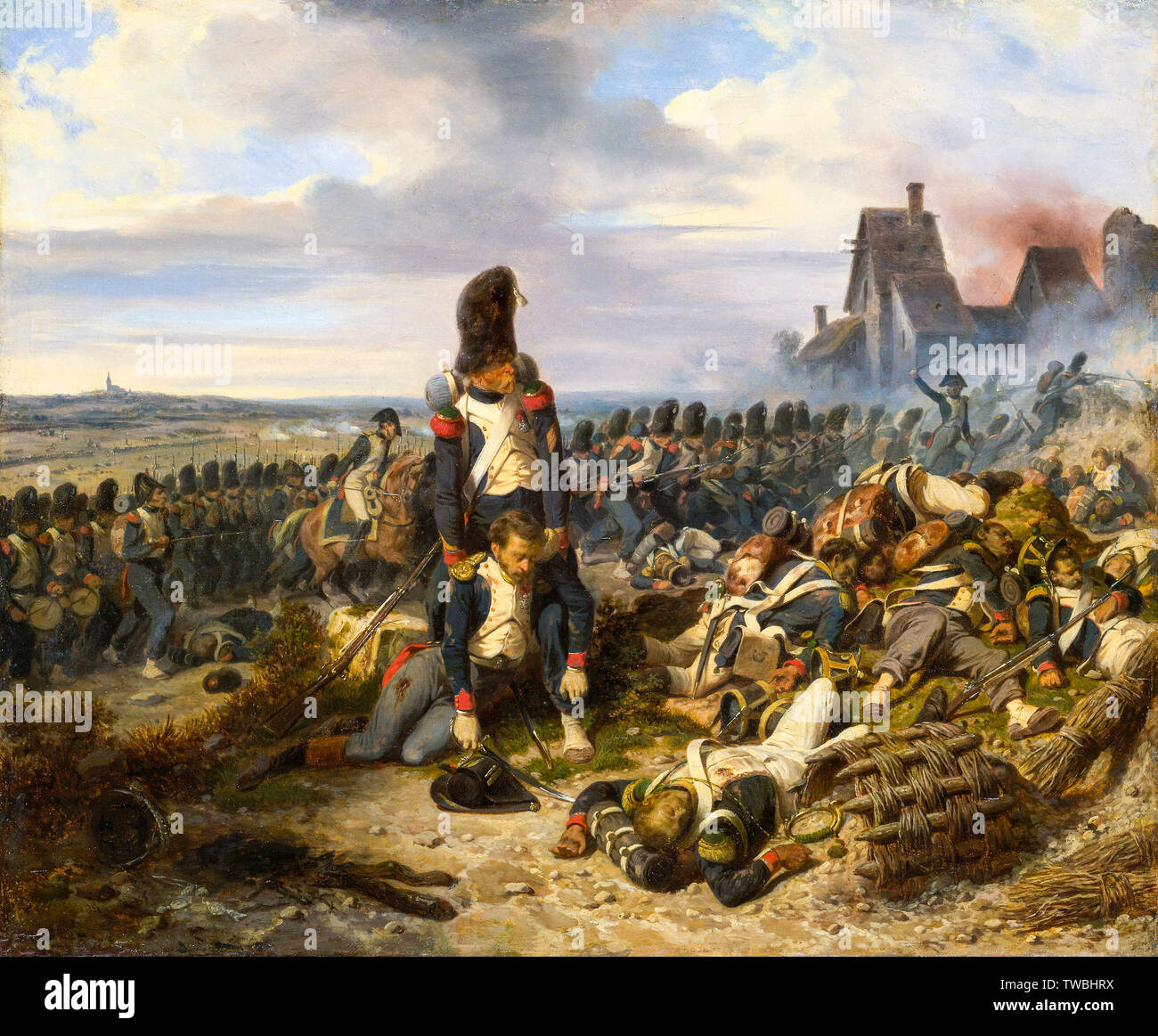 Battle Scene, Battle of Waterloo by Hippolyte Bellange, painting, circa 1825 - Stock Image