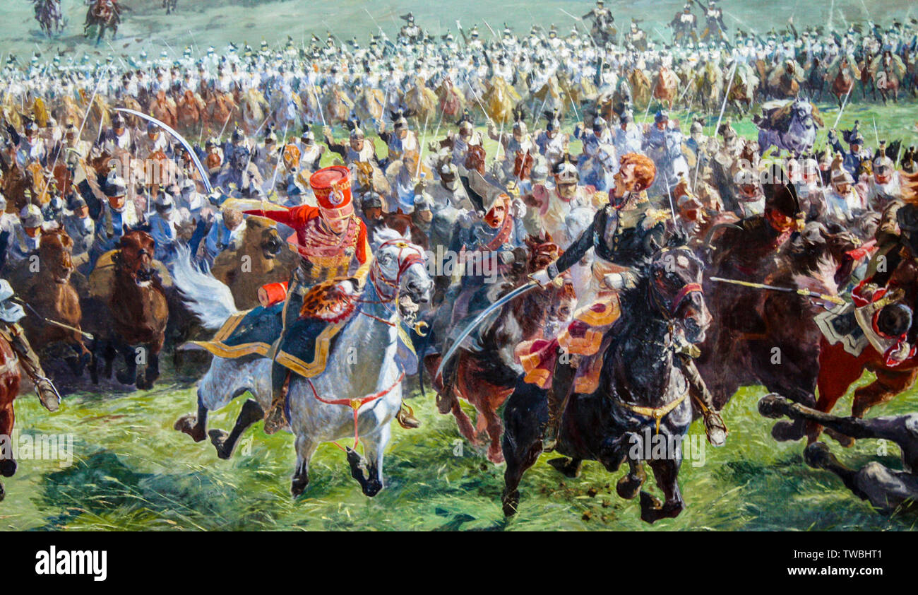 Marshall Ney and his staff leading the French cavalry charge at the Battle of Waterloo, painting, 1912 - Stock Image