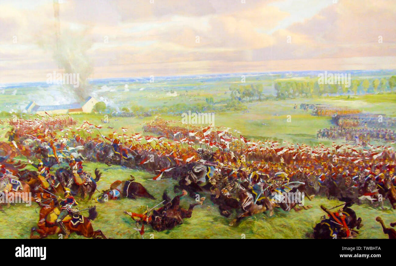 Charge of the cavalry of the Imperial Guard during the Battle of Waterloo, painting, 1912 - Stock Image