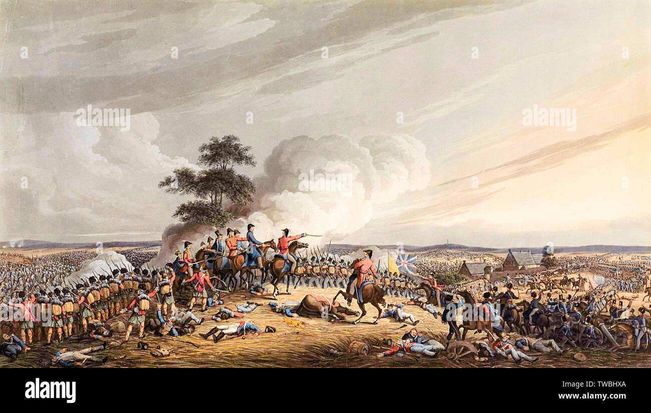 Battle of Waterloo, print, 1816. The view from Mont St. Jean of The Battle of Waterloo, at the commencement of the grand Charge made on the French about 7 o'clock in the Evening of the 18th June 1815 Stock Photo