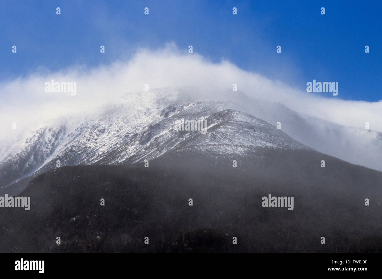 The eastern slope of Mount Washington in the New Hampshire White Mountains during an extremely windy winter day. Stock Photo