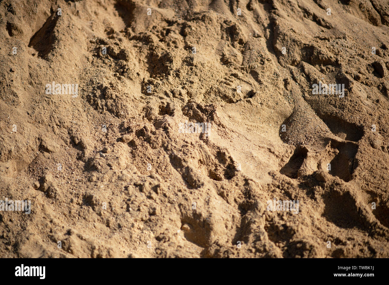 closeup of sand pattern of a beach in the summer. - Stock Image
