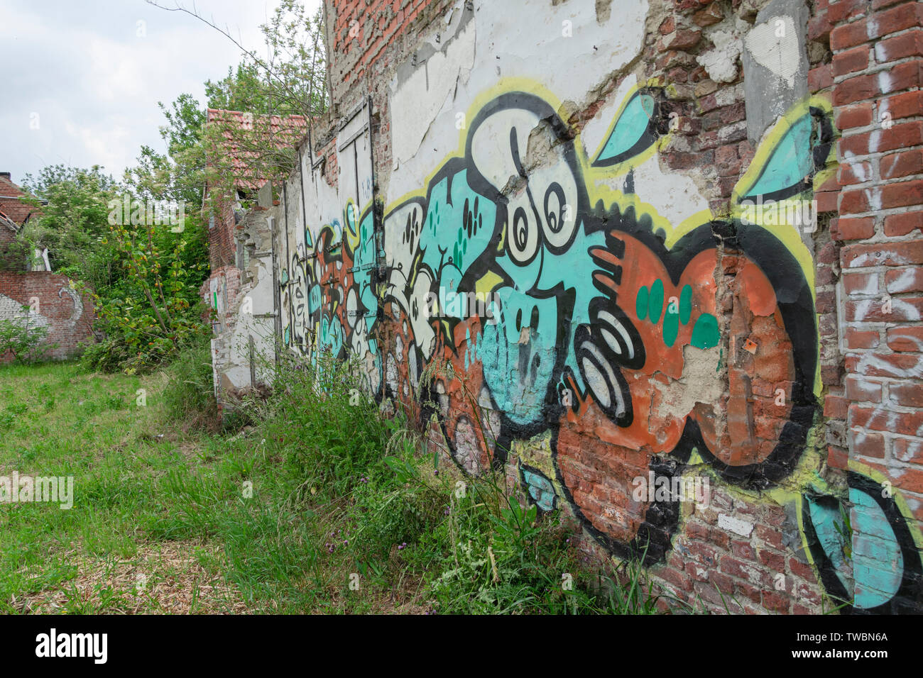 Doel, Belgium 10 June 2019, A wall full of graffiti in an abandoned village near the nuclear power station - Stock Image