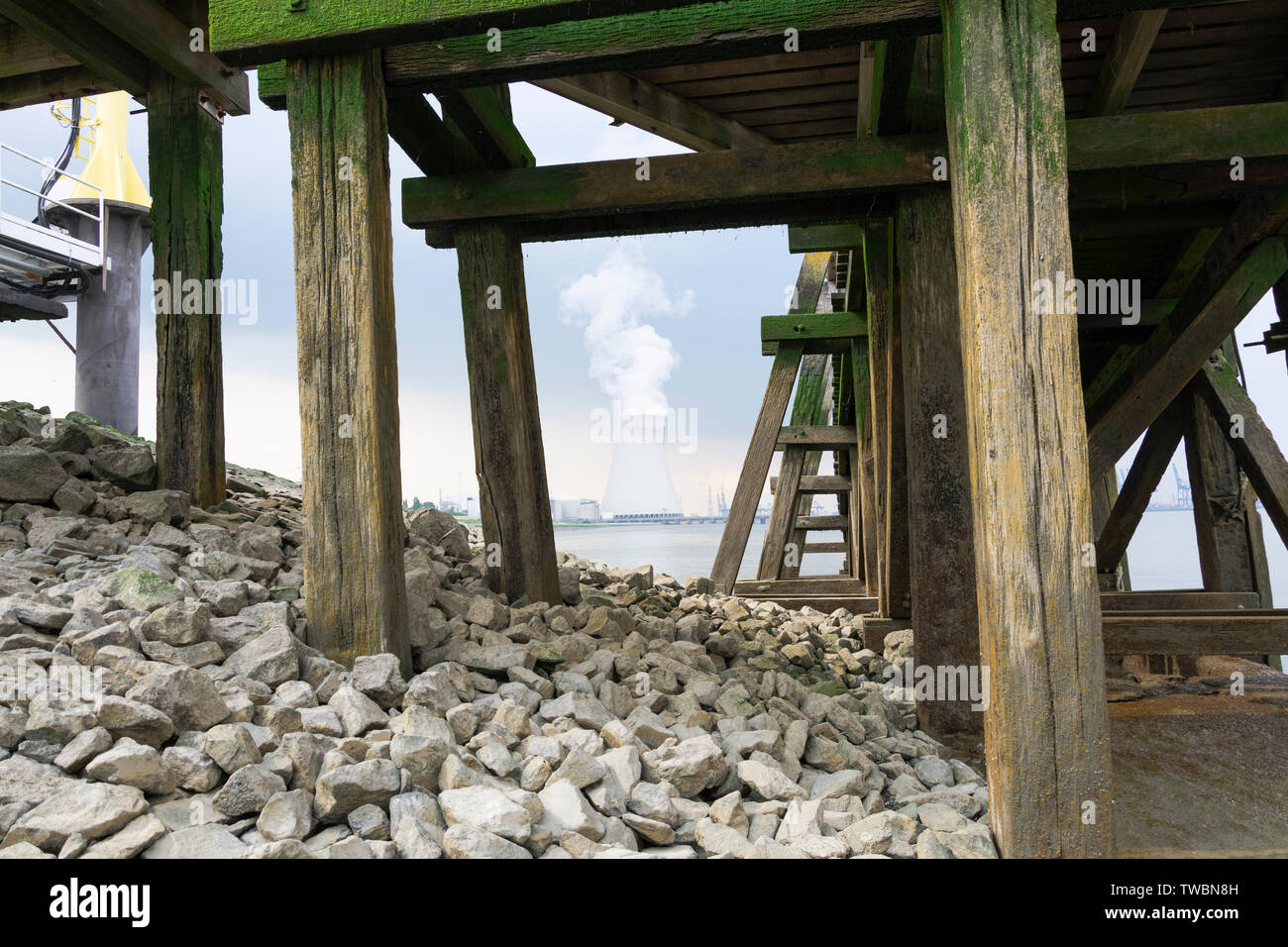 The cooling towers of Doel from a very different perspective horizontal - Stock Image