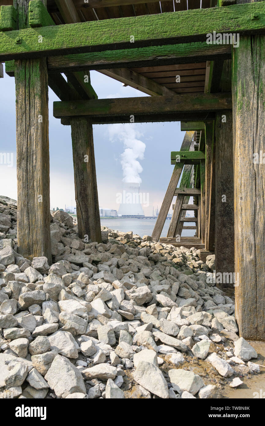 The cooling towers of Doel from a very different perspective photo vertically - Stock Image