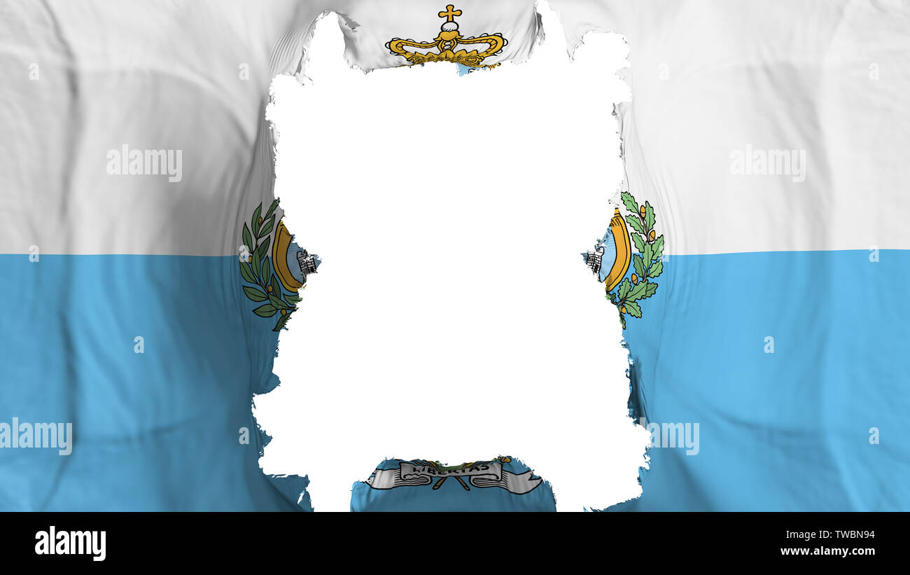 Ripped San Marino flying flag - Stock Image