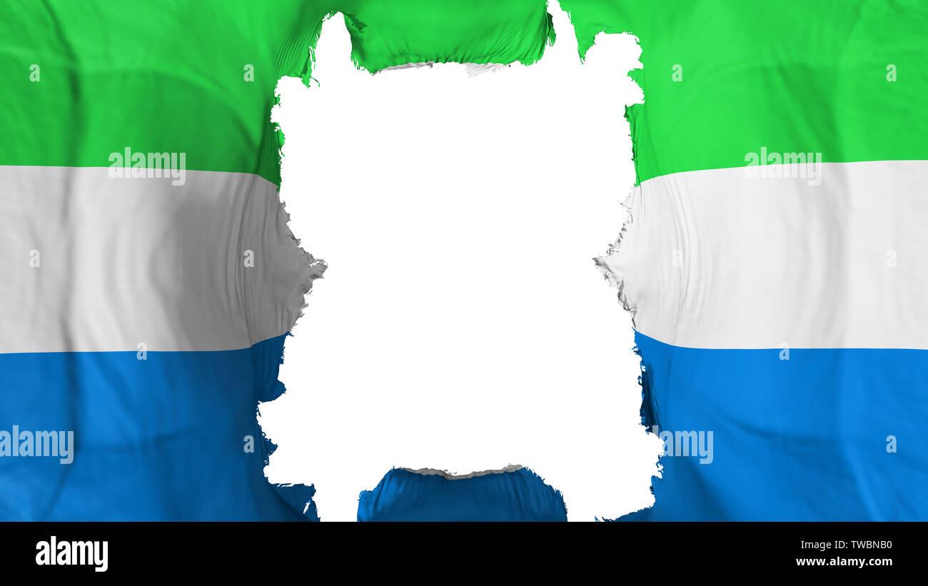 Ripped Sierra Leone flying flag - Stock Image