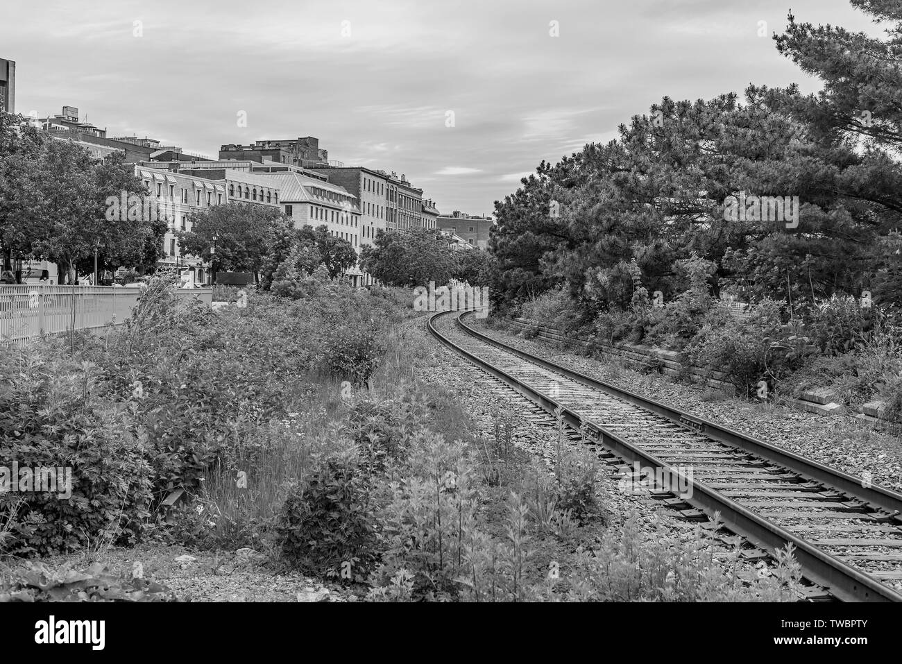 Views of railway tracks in Old Montreal. Stock Photo