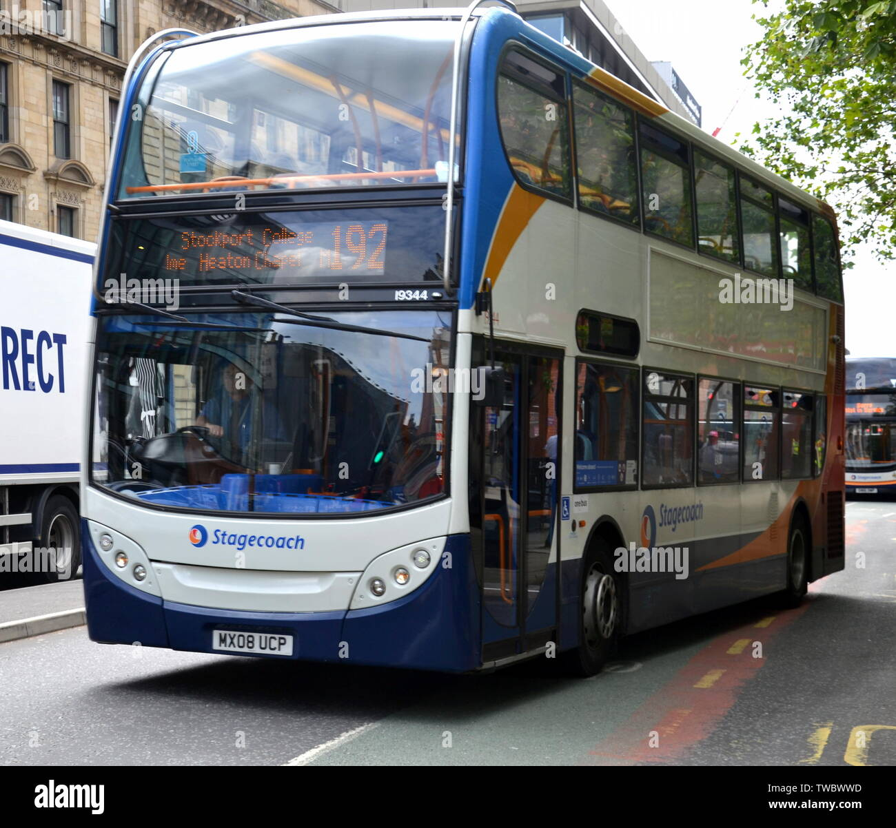 A Stagecoach bus, number 192, in city centre Manchester, uk - Stock Image
