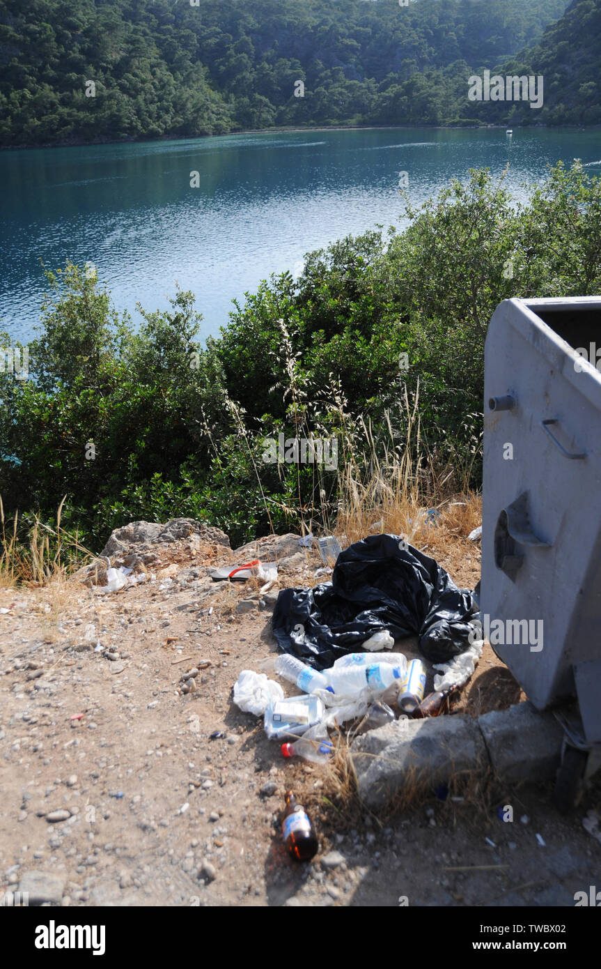 Man-made Waste Littering the Turkish Mediterranean Coastline. - Stock Image