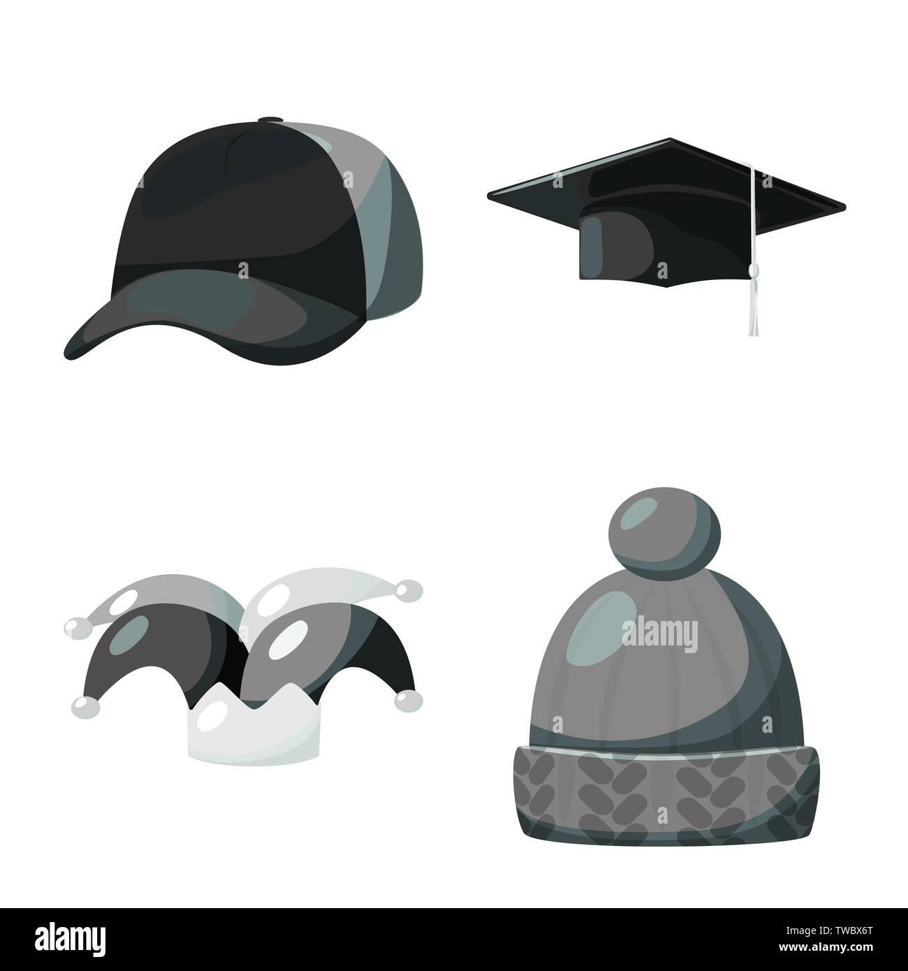 Vector illustration of hat and helmet symbol. Collection of hat and profession stock vector illustration. - Stock Vector