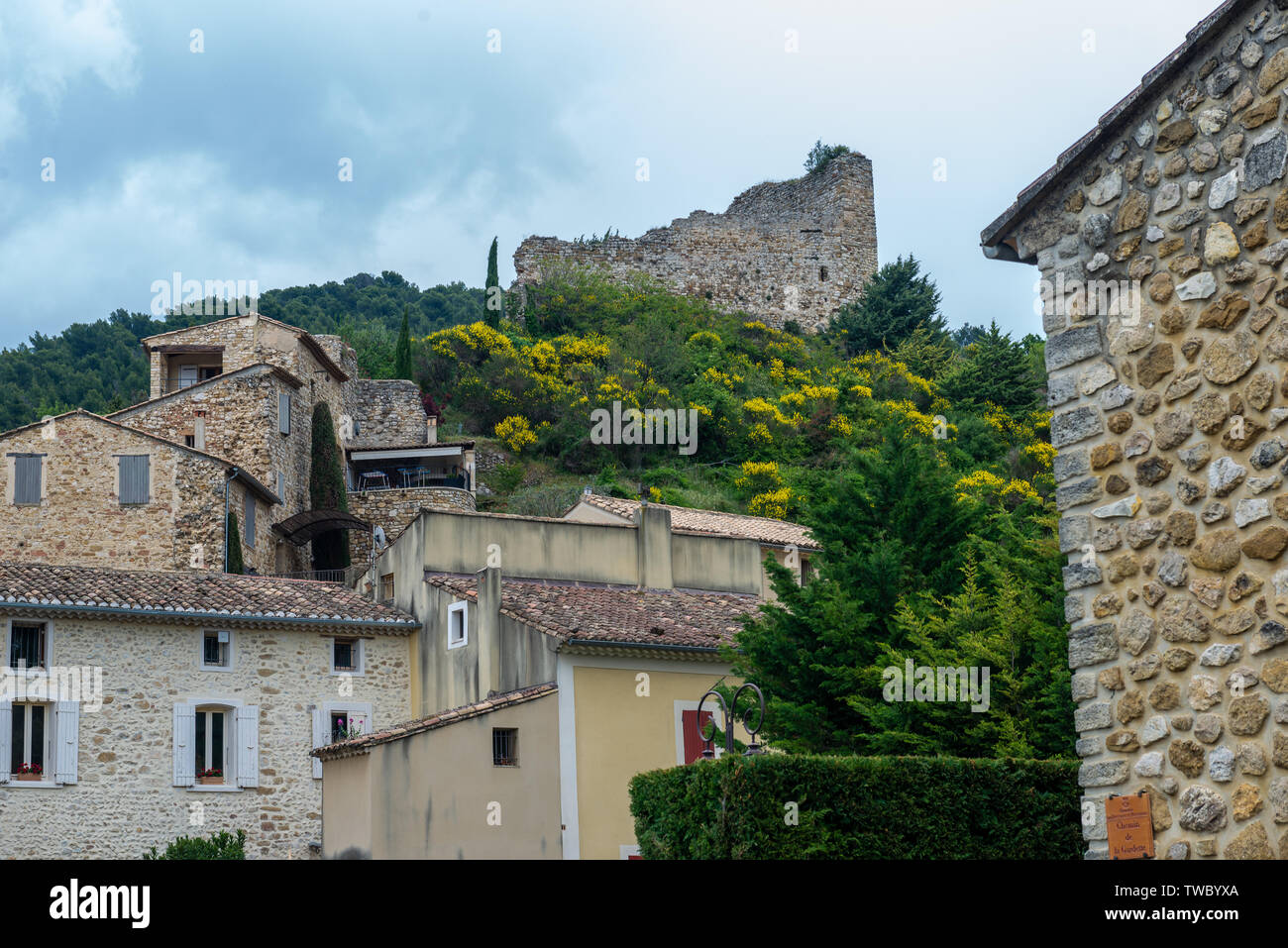Castle ruins at the ancient city of Gigondas in southern France. Stock Photo