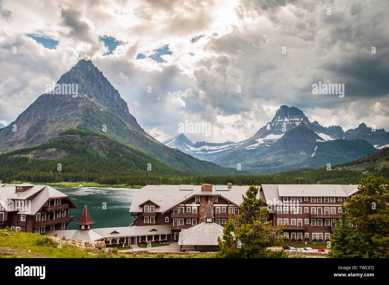 Browning, MT - July 10, 2010: Many Glacier Hotel is located on Swiftcurrent Lake in Glacier National Park Stock Photo