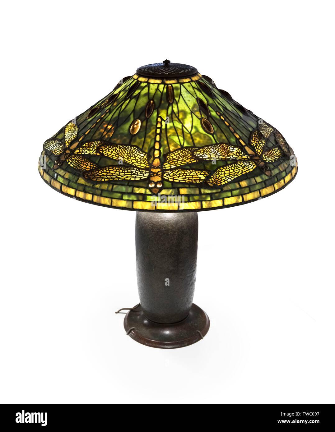 Tiffany Lamp. Dragonfly Table Lamp by Tiffany Studios, c.1904. Stock Photo