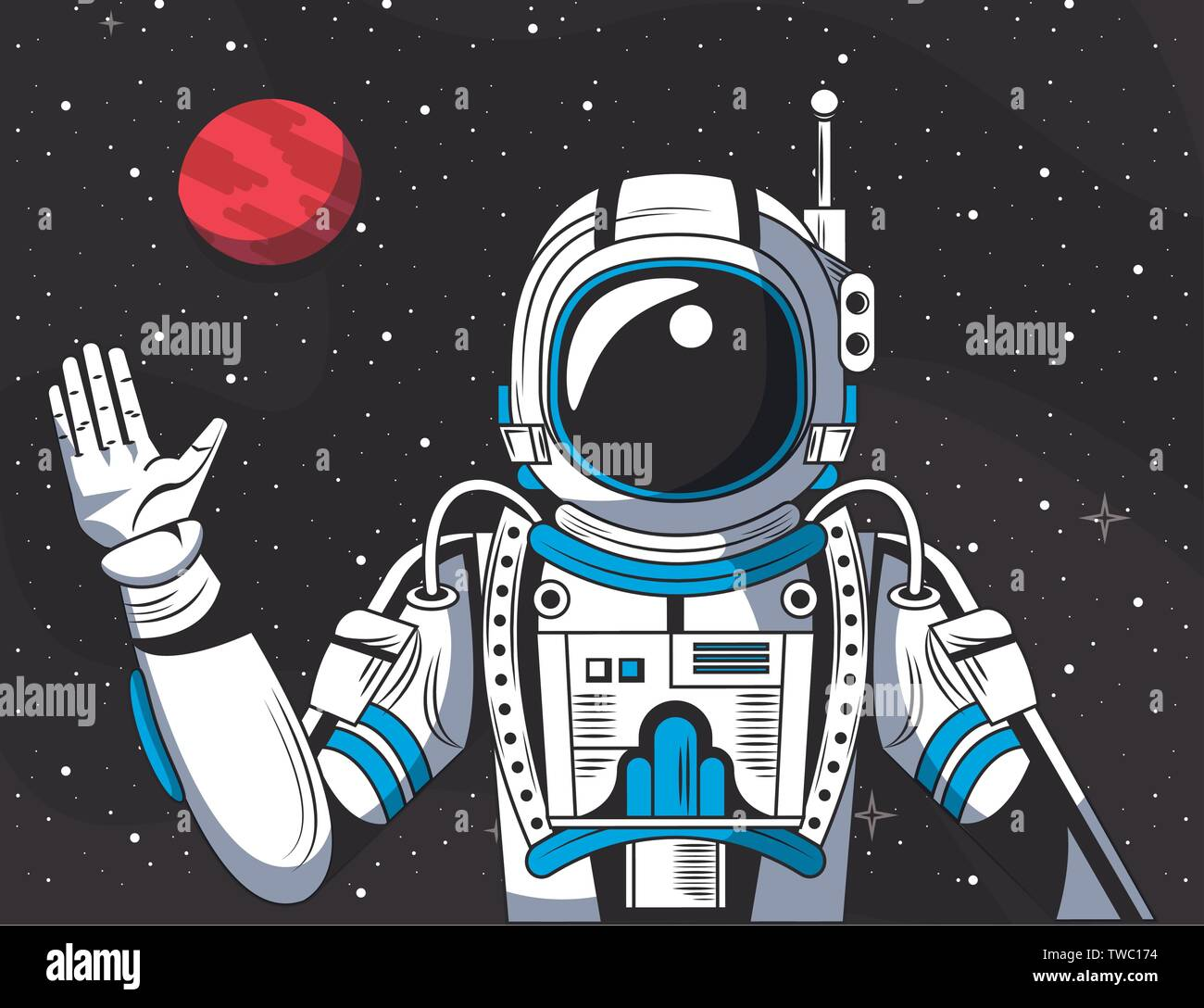 Astronaut in the space drawing cartoon Stock Vector