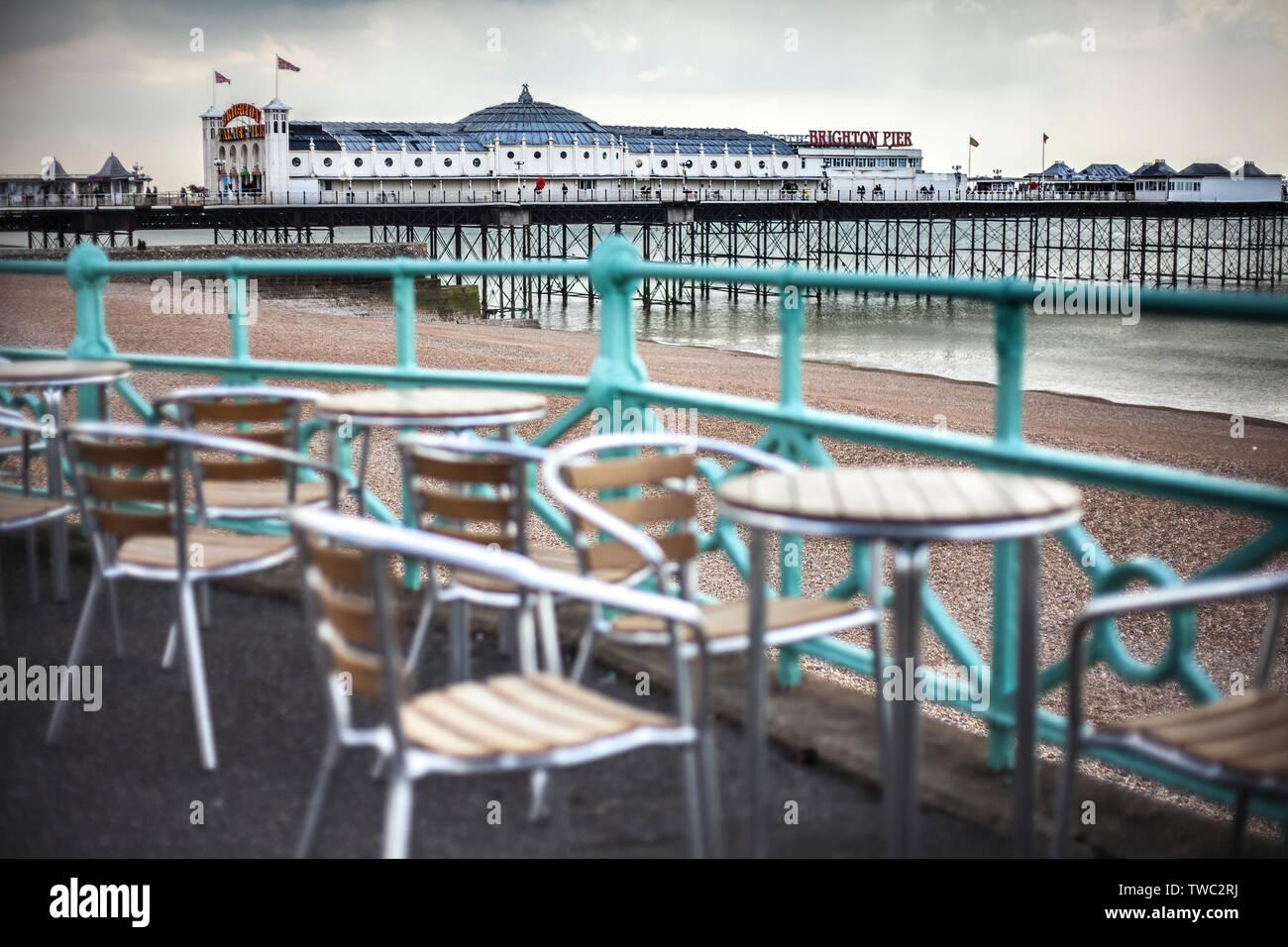 brighton sea front scene English seaside Stock Photo