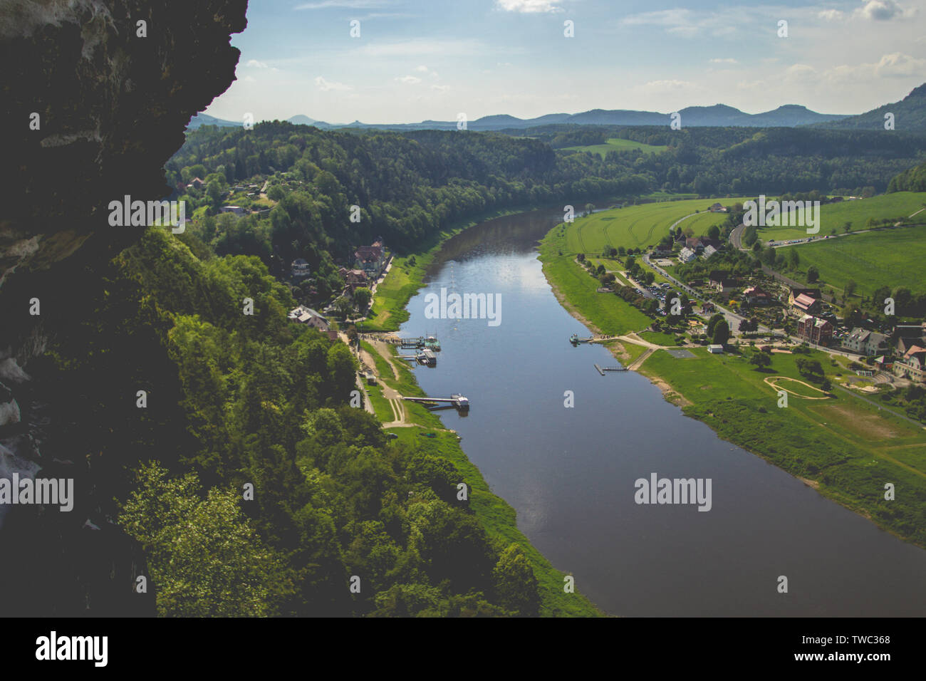 Beautiful view over the Elbsandsteingebirge (Elbe Sandstone Highlands). A mountain range of sandstone in Saxony, Germany. - Stock Image