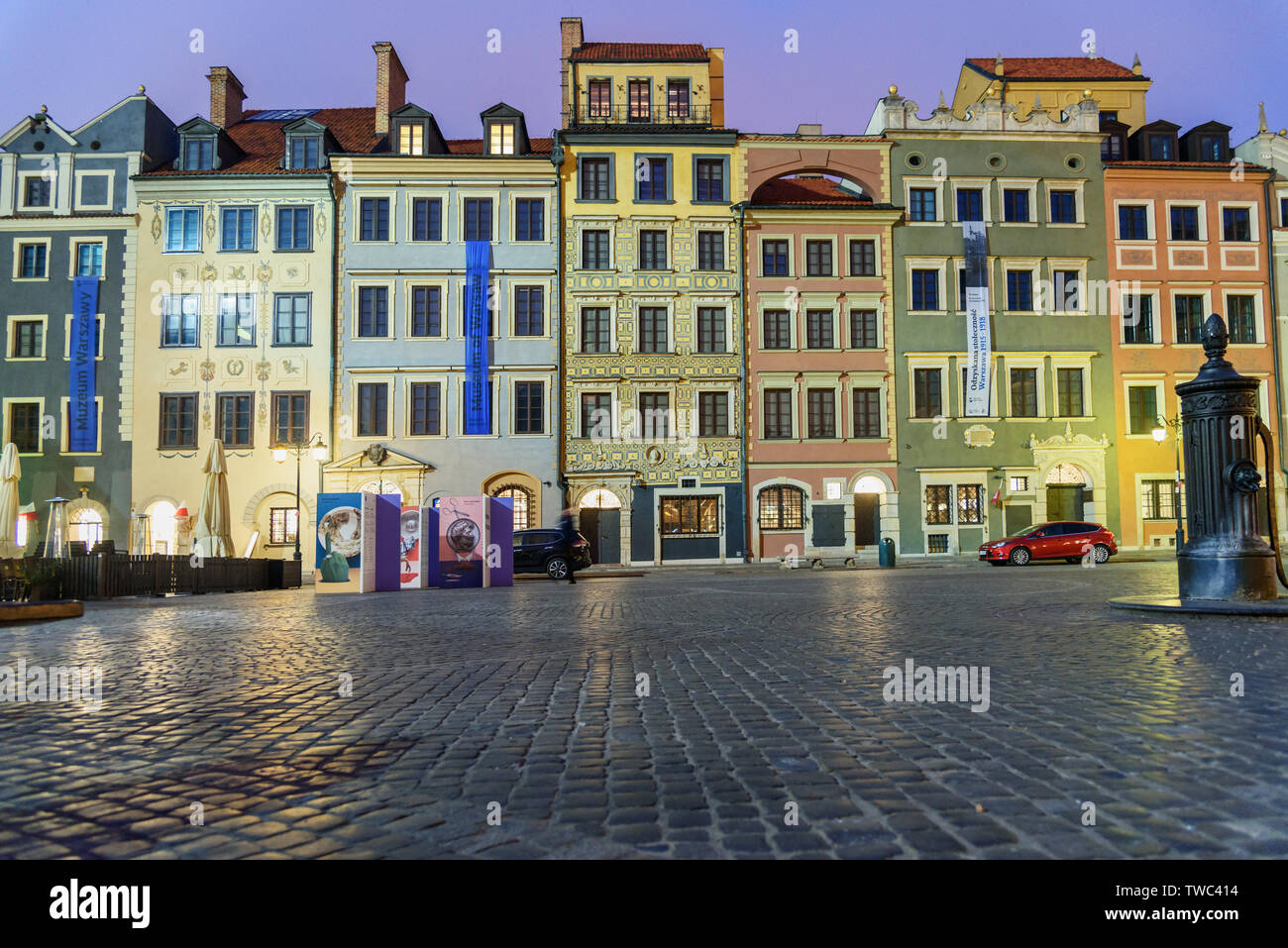 Warsaw, Poland - November 11, 2018: Traditional old houses on Old Town Market Place at night - Stock Image