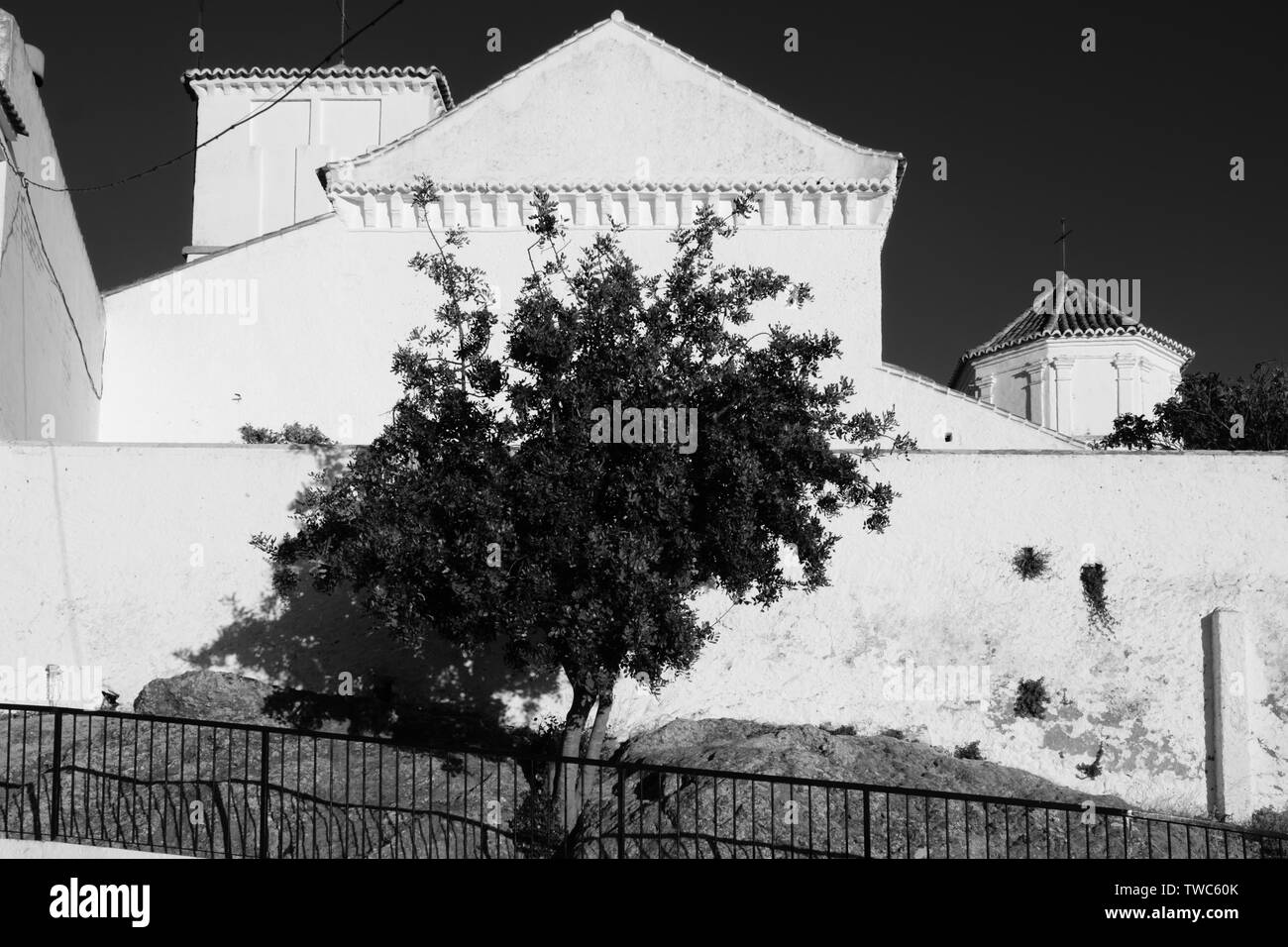Black and White images of the white village of Comares, Malaga, Axarquia, Andalucia, Spain, Europe - Stock Image