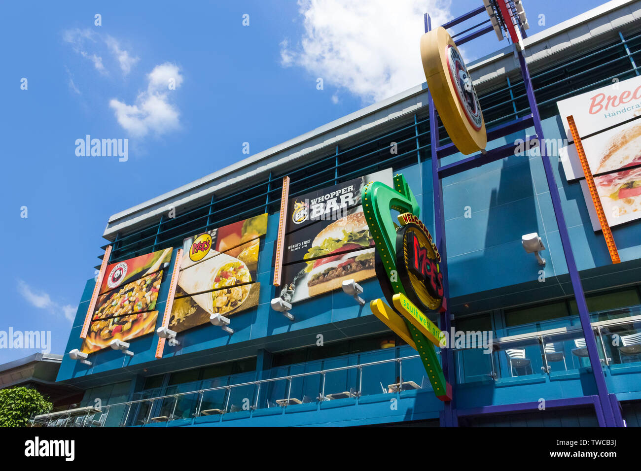 Orlando, USA - May 9, 2018: The Universal City Walk is the mall at the entrance of the Universal Studios Orlando - Stock Image