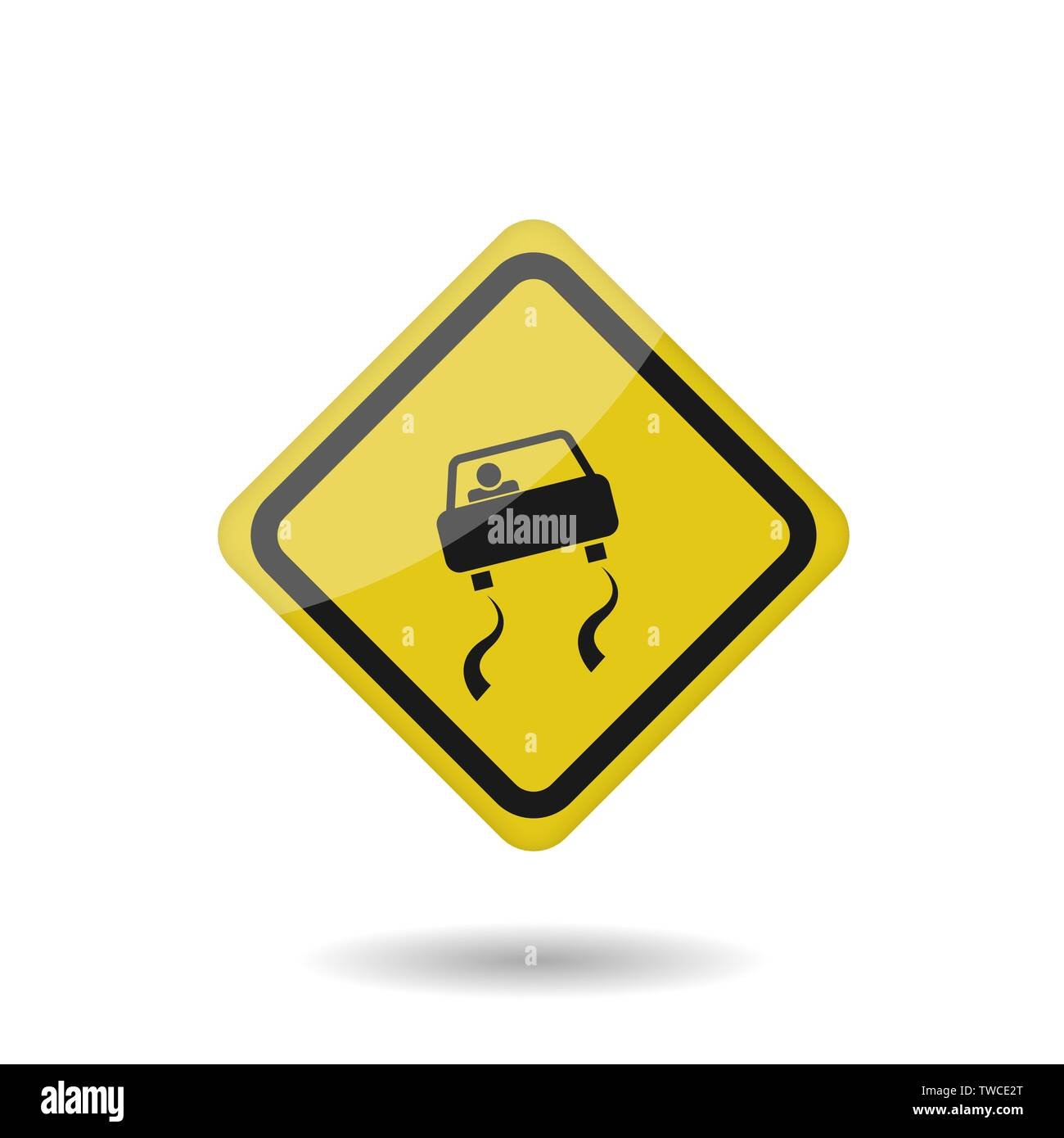 Yellow warning slippery road sign. Vector illustration - Stock Image