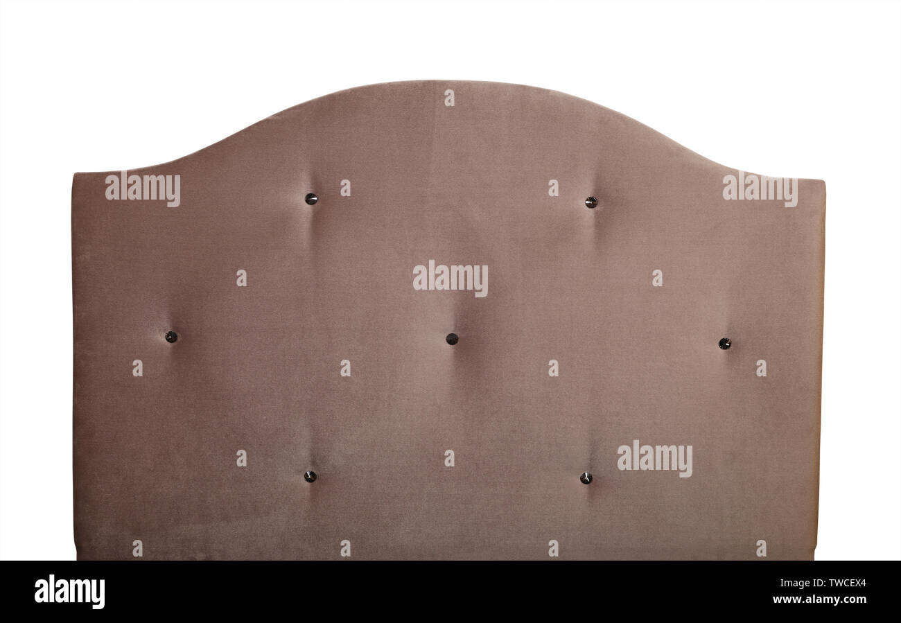 Pastel Brown Beige Soft Velvet Fabric Shaped Bed Headboard Isolated On White Background Front View Stock Photo Alamy