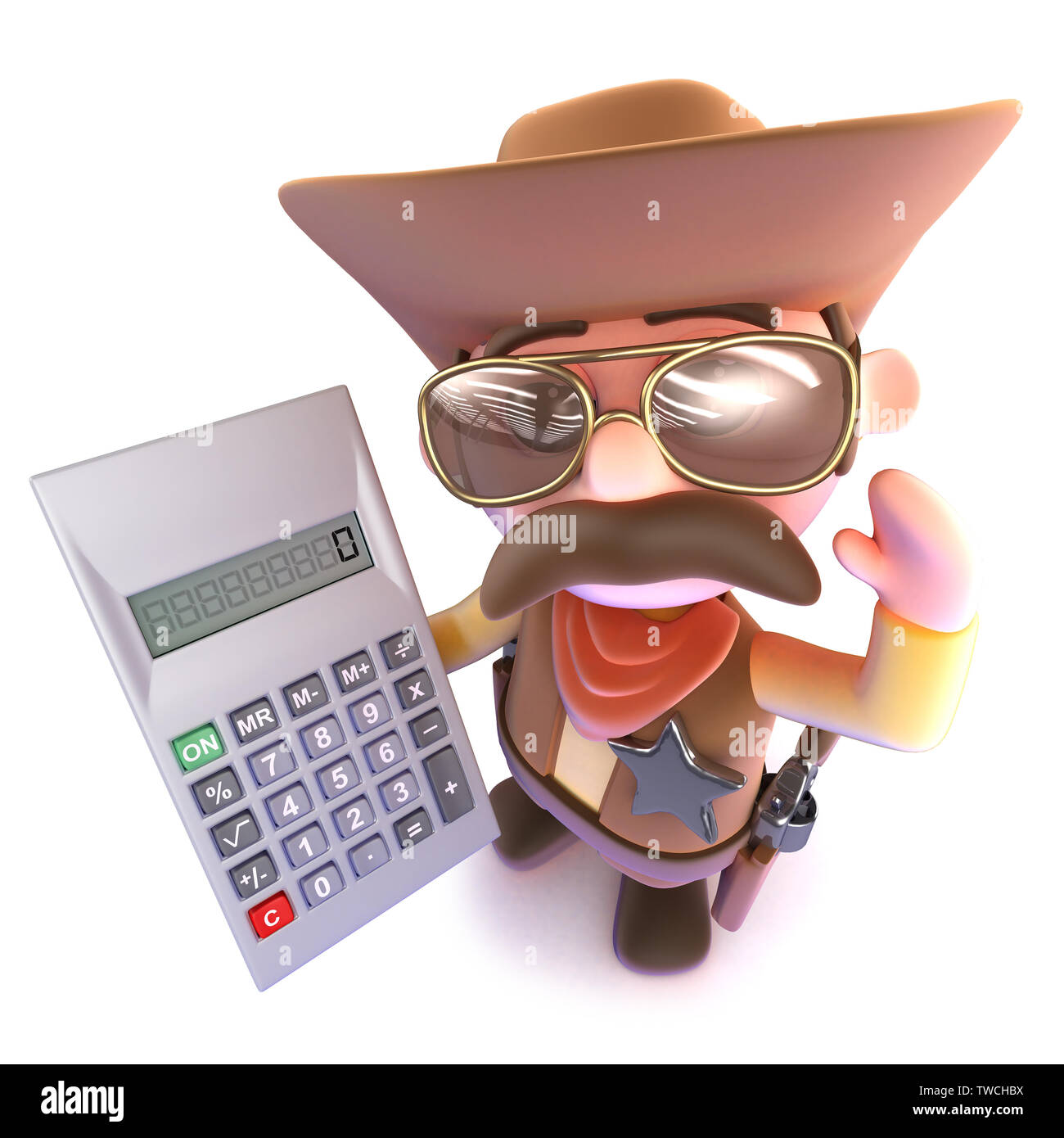 37eb26077b6f23 3d render of a funny cartoon cowboy holding a digital calculator - Stock  Image