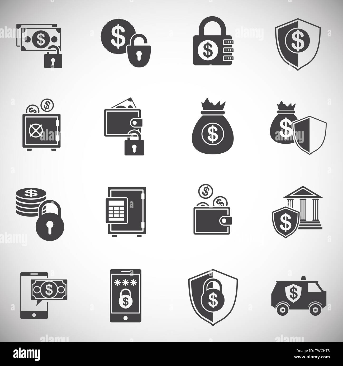 Money security related icons set on background for graphic and web design. Simple illustration. Internet concept symbol for website button or mobile - Stock Image