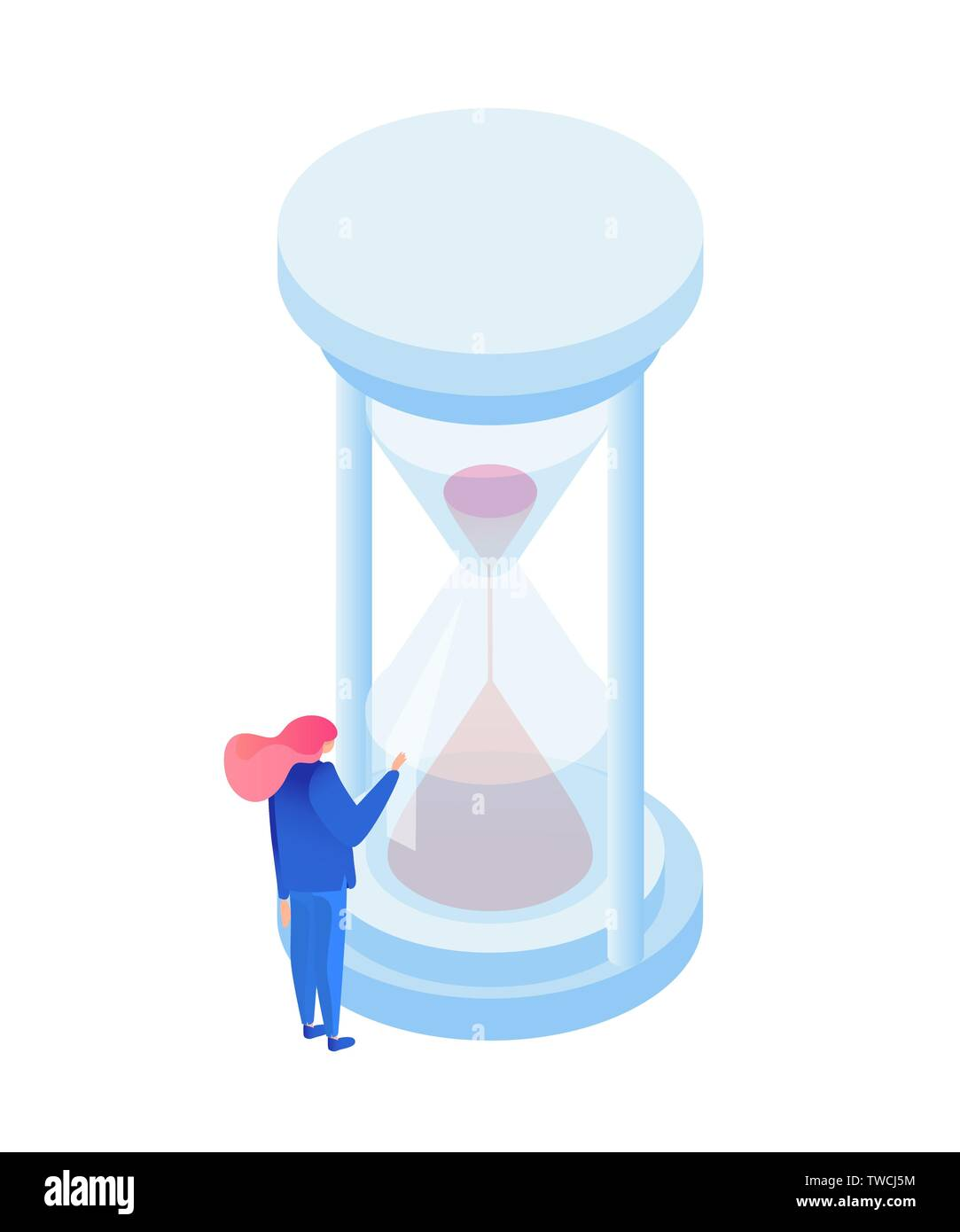 Flow of time metaphor isometric illustration. Time management expert watching sand in hourglass isolated character. Antique sandglass measuring hours, counting minutes to deadlines - Stock Image