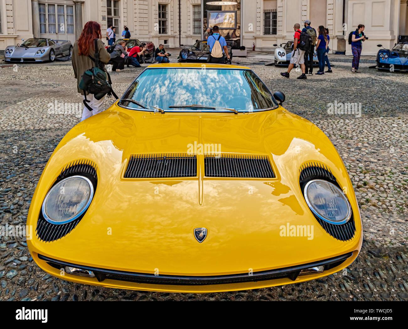 Piedmont Turin - Turin auto show 2019  - Valentino park - Valentino castle - Lamborghini Countach Stock Photo