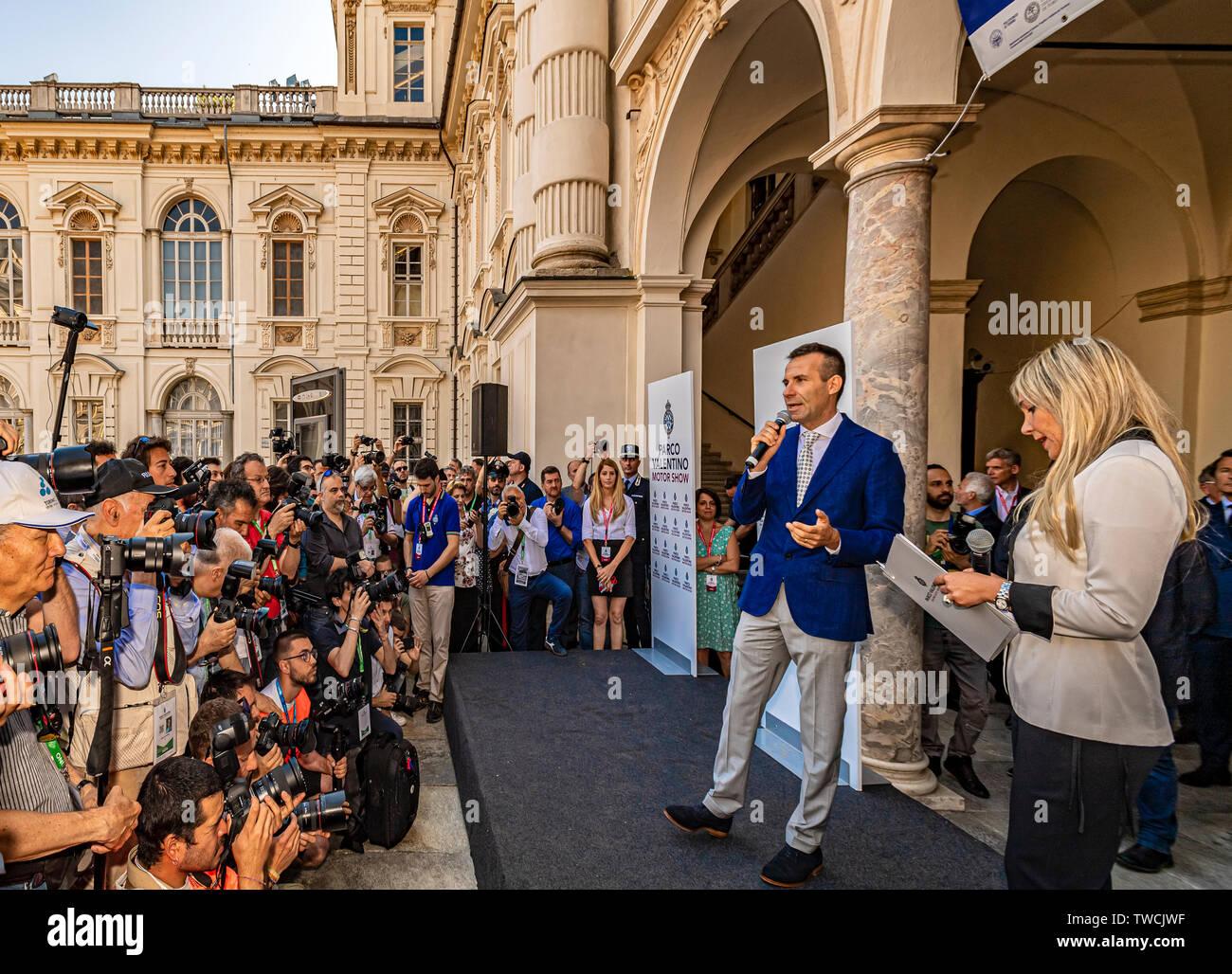 Piedmont Turin - Turin auto show 2019  - Valentino park - Valentino castle - Andrea Levy - President of the event Stock Photo
