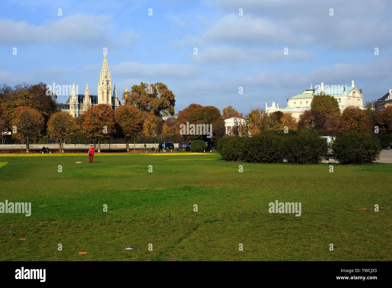 Vienna, Austria - November 1, 2013: few people walking at Sigmund-Freud Park. In 1961 the park in Alser was renamed to Sigmund -Freud Park - Stock Image