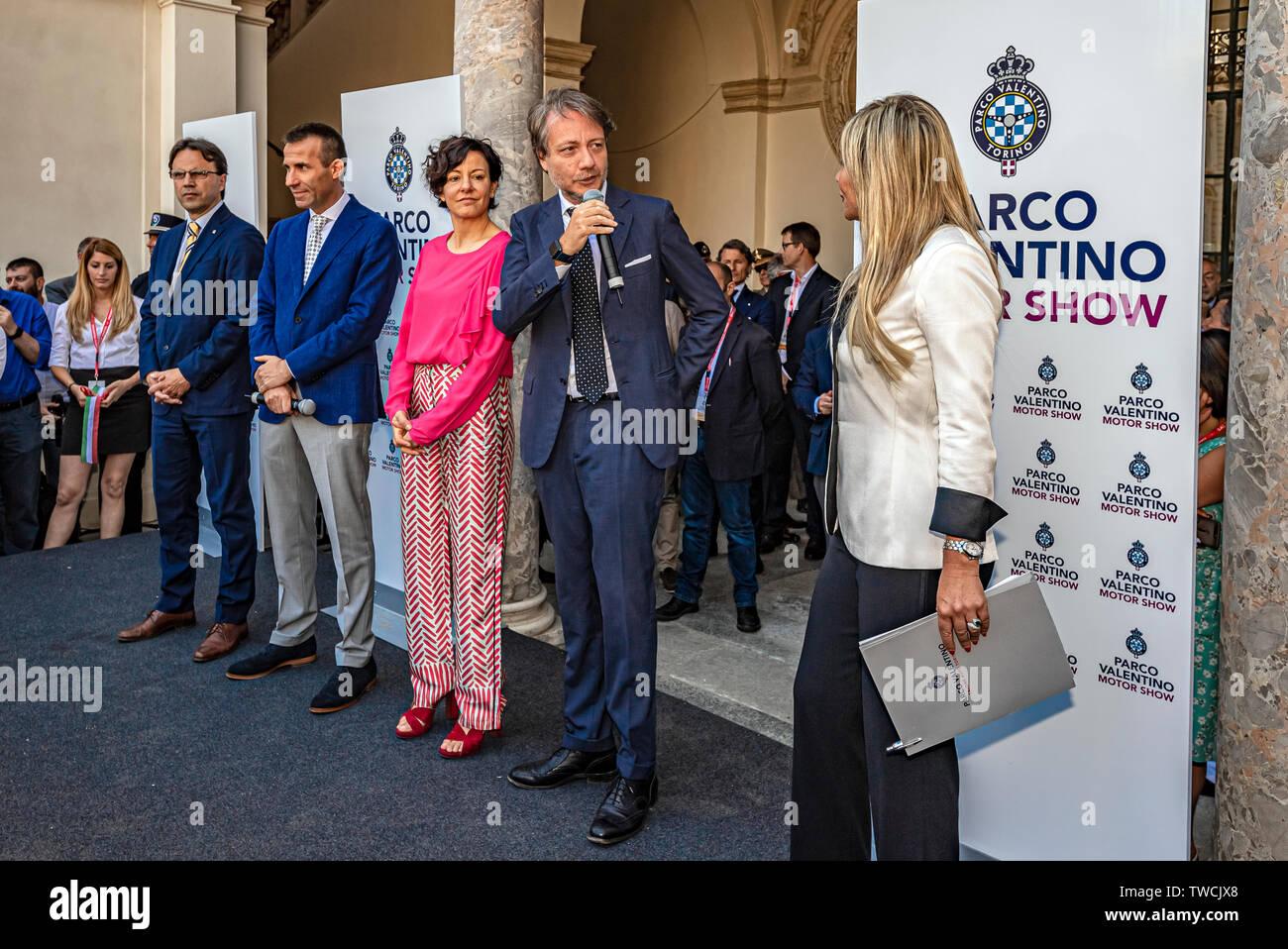 Piedmont Turin - Turin auto show 2019  - Valentino park - Valentino castle -  Assessore Alberto Sacco Stock Photo