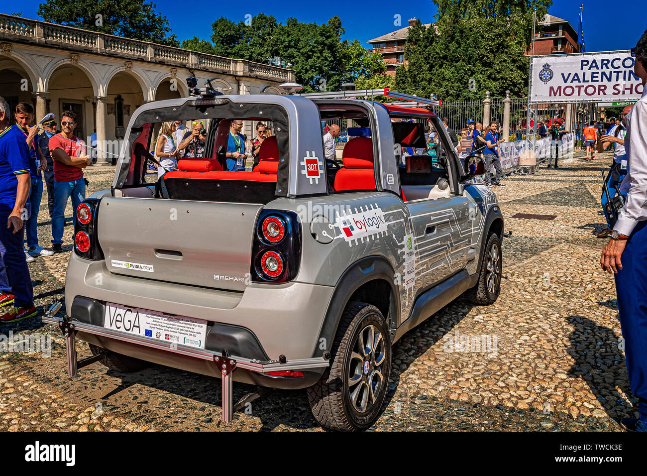 "Piedmont Turin - Turin auto show 2019  - Valentino park - Valentino castle -Smart Road"" project car with autonomous driving on the road Stock Photo"