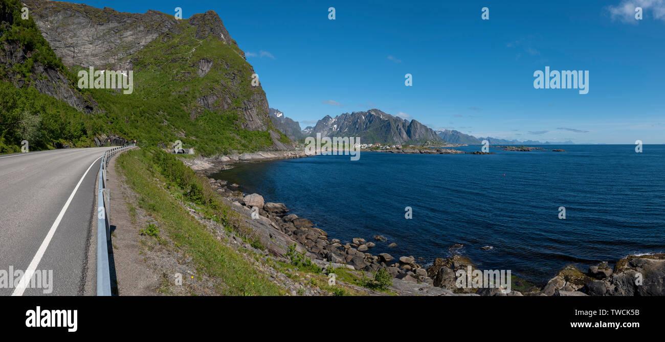 Road to Reine from Moskenes, Lofoten Islands, Norway - Stock Image
