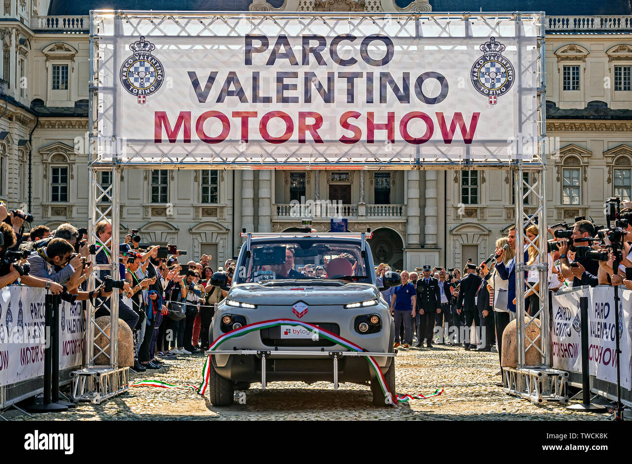 """Piedmont Turin - Turin auto show 2019  - Valentino park - Valentino castle  - Cutting of the Second Inaugural Tape of the Smart Road"""" project car with autonomous driving on the road Stock Photo"""