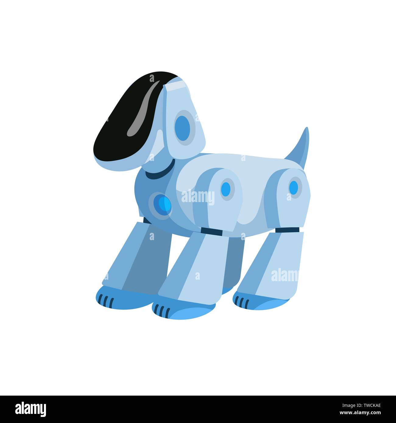 Robotic dog flat vector illustration. Cartoon electronic pet ...
