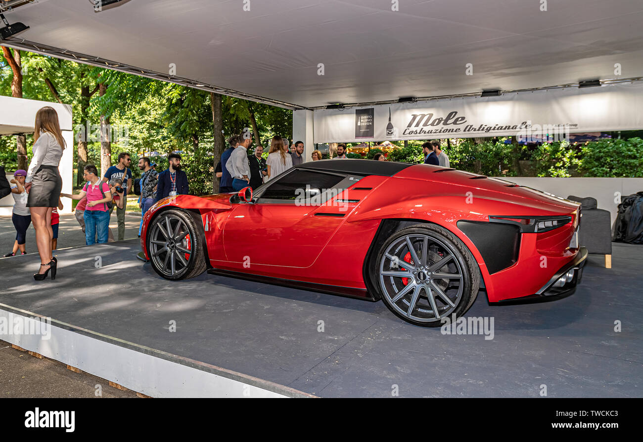 Piedmont Turin - Turin auto show 2019  - Valentino park - personalities visit the stands - Mole laboratorio artigianale Stad Stock Photo