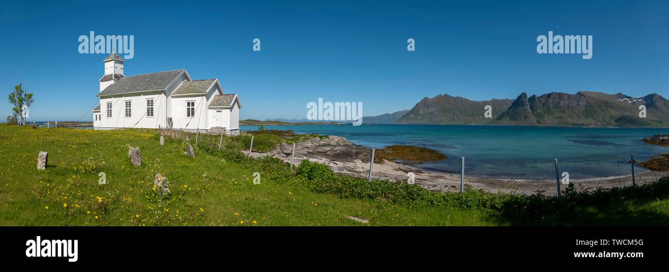 Vinje Church, Gimsoya, Lofoten Islands, Norway - Stock Image