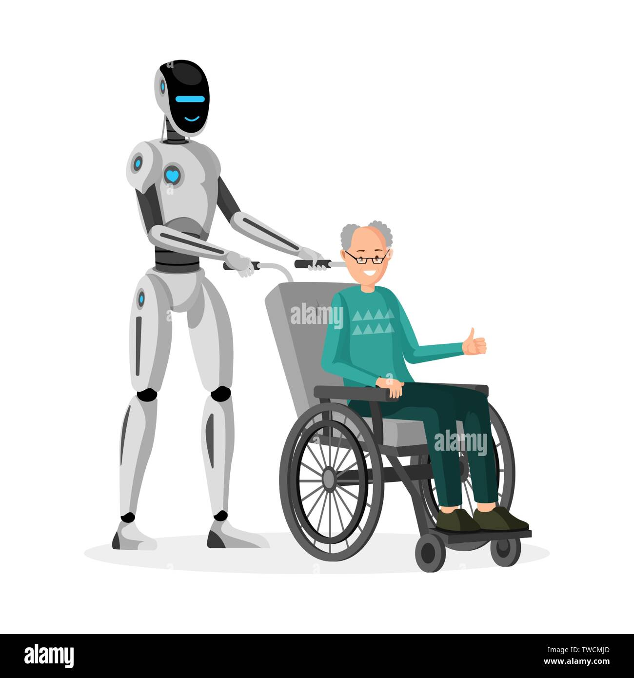 Robot with disabled man flat vector illustration  Cyborg