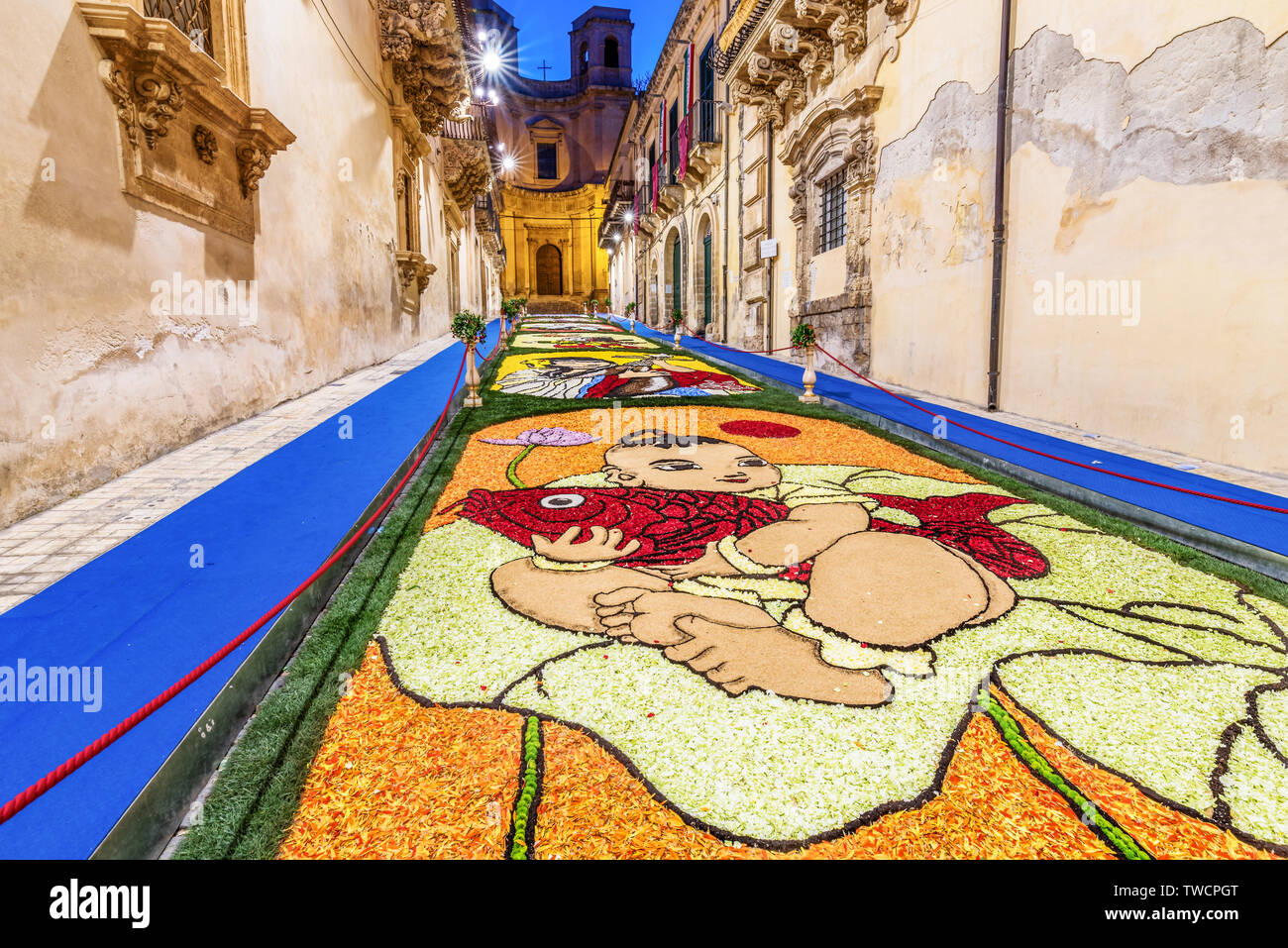Noto, Sicily/Italy - May 20 2018: The Flower Festival of Noto in Sicily - Stock Image