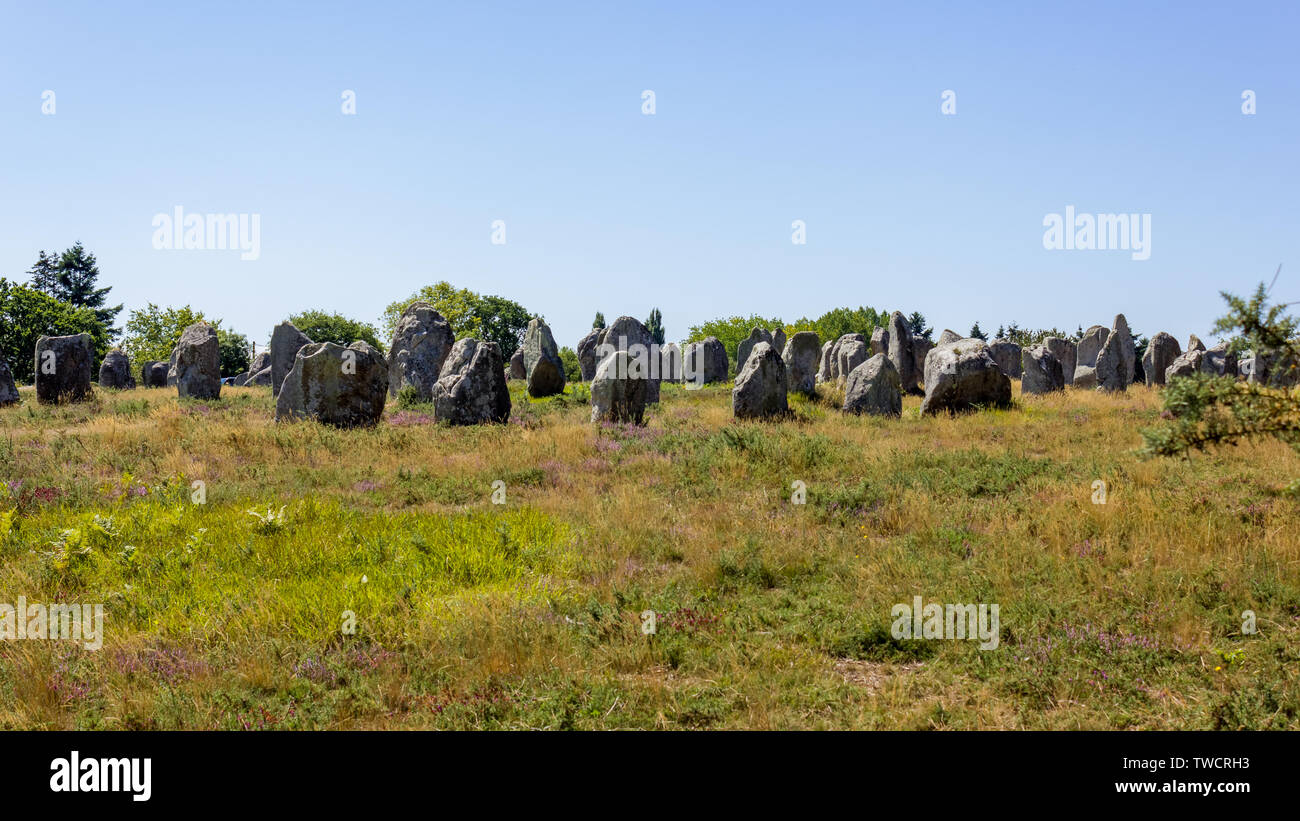 Standing stones alignment in the village of Carnac, Brittany, France. Megalithic landmark - Stock Image