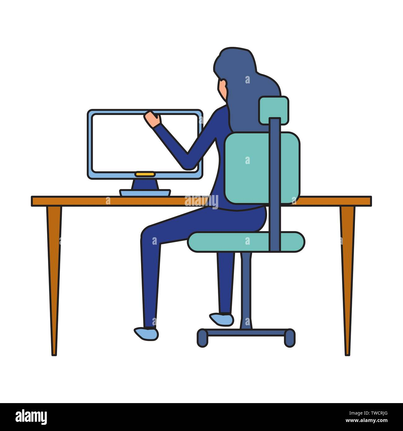 back view businesswoman working office desk computer business vector illustration - Stock Image