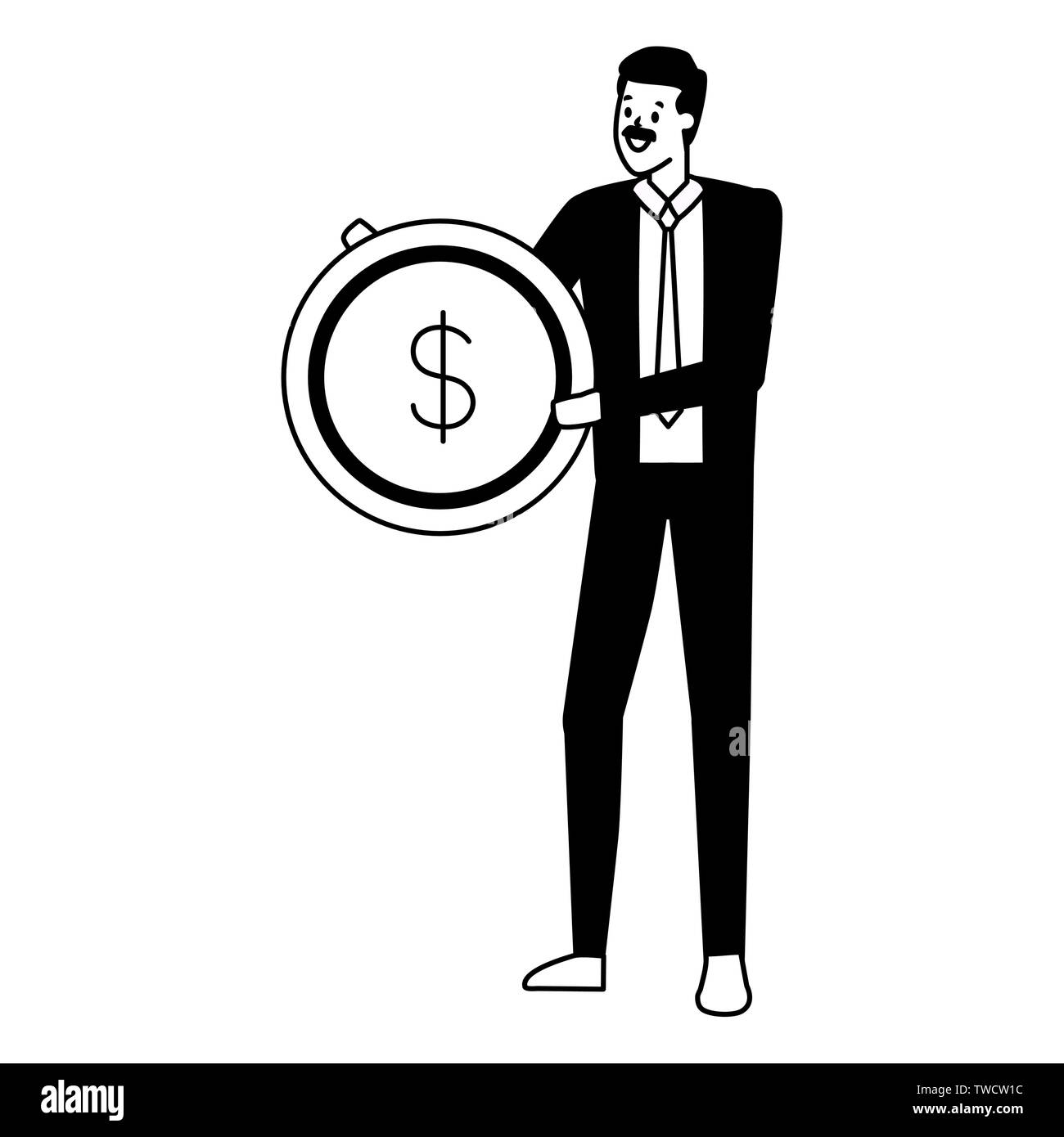 businessman holding coin money dollar vector illustration - Stock Image