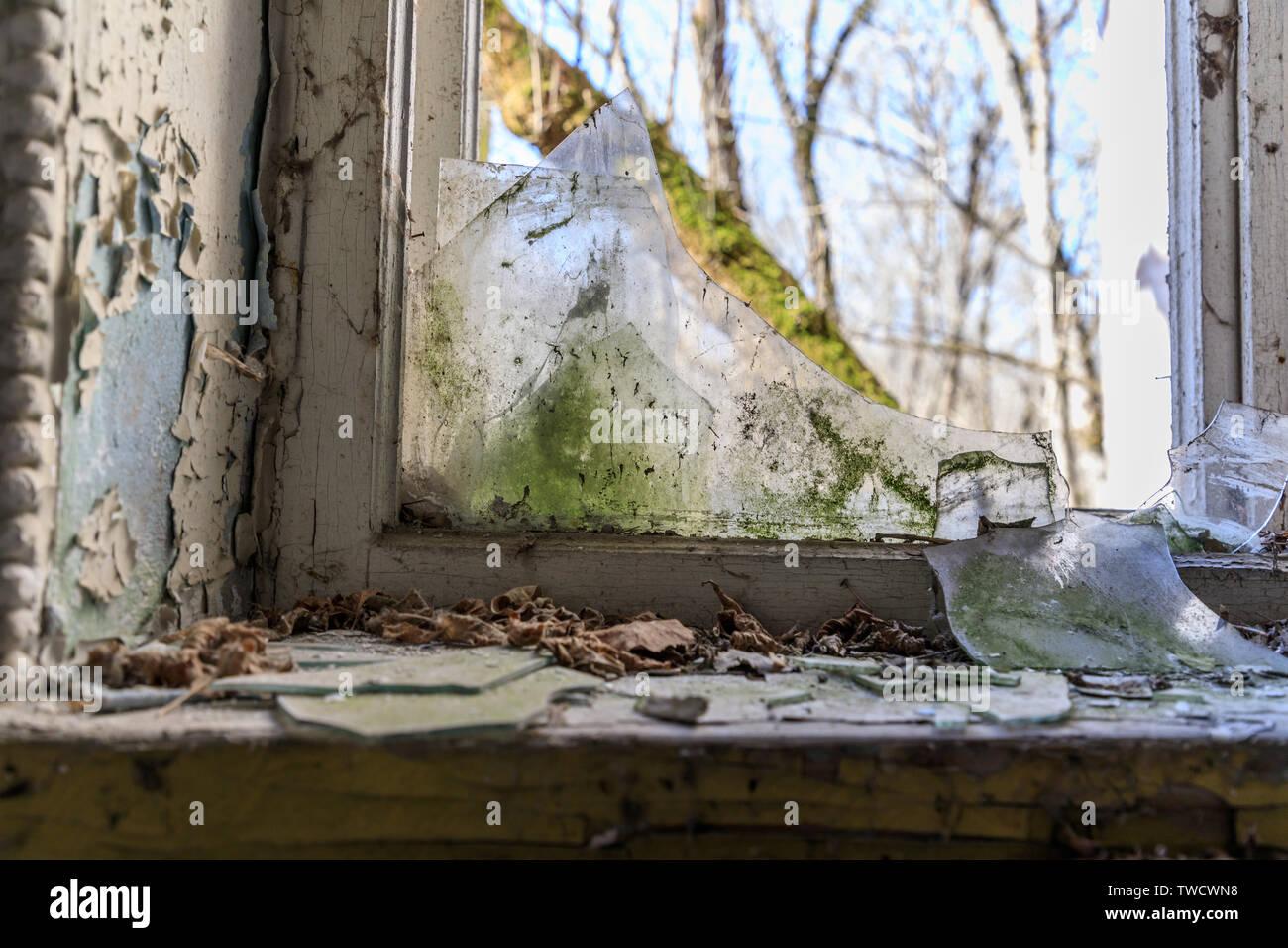 Eastern Europe, Ukraine, Pripyat, Chernobyl. Peeling paint. Broken glass, window. - Stock Image