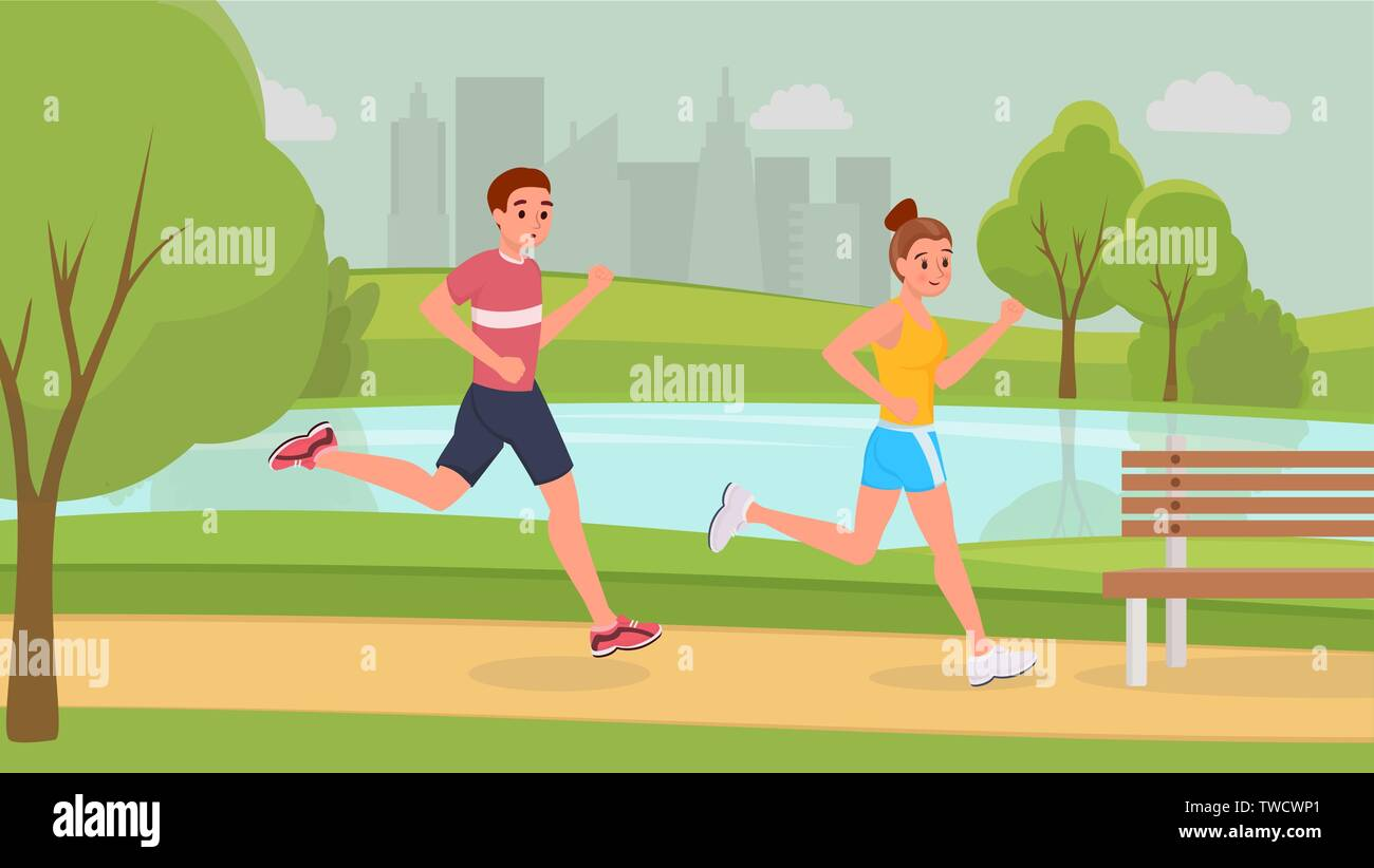 Lovely smiling sports couple on morning running in park stronger vector illustration. Man and woman in light sportswear and sneakers to get in shape. Become healthier and. Urban landscape - Stock Vector