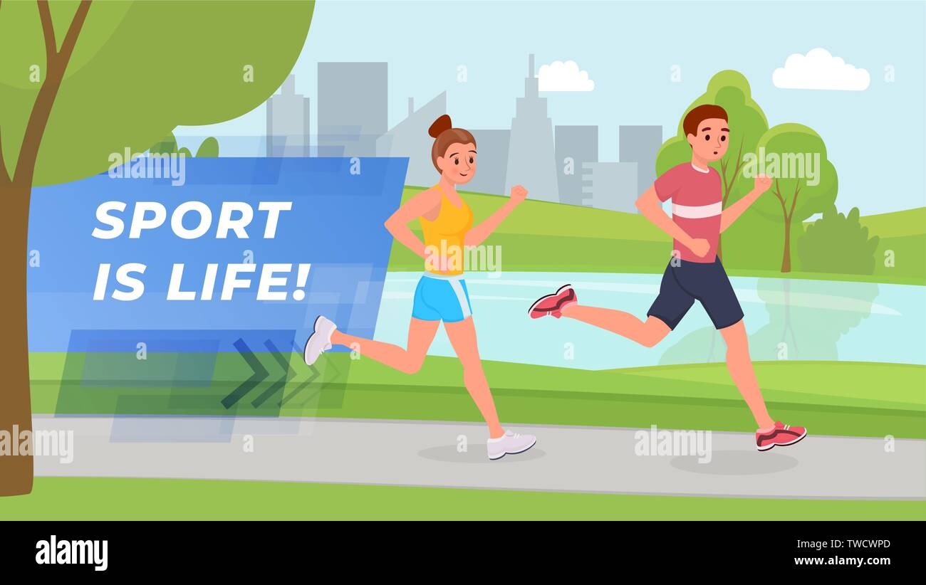 Smiling sports on morning running in park flat style vector illustration - Stock Vector